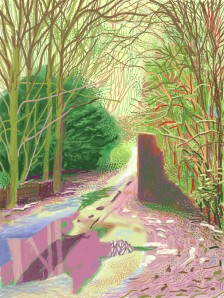 David Hockney, 'The arrival of sprint in Woldgate, East Yorkshire in 2011', 2011, one of 52 iPad drawings (using Brushes) printed on paper, in 'A Bigger Picture' at Royal Academy, London. Image courtesy Royal Academy website.