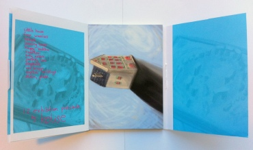 Kelise Franclemont, inside cover and first postcard 'little house' in 'Treasures from Atlantis', 2012, digital drawing and printed postcard.