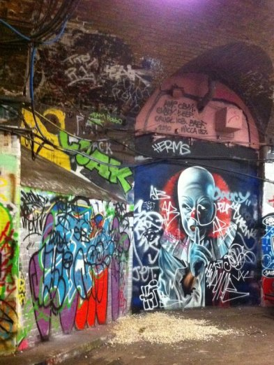 Street art at Waterloo tunnels, 14 October 2011. Photo credit Kelise Franclemont.