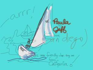 Kelise Franclemont, Barbara Graham, Paula, and Jeff, 'Pirates arrrr friendly when they are from California', 2011, digital drawing.