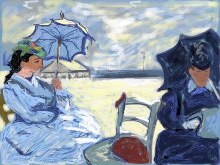 Kelise Franclemont, study of Monet's 'the beach at Trouville', 2011, digital drawing (Brushes), in National Gallery.