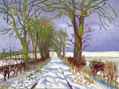 David Hockney, 'Winter tunnel with snow', 2006, digital drawing in 'A Bigger Picture' at Royal Academy. Image courtesy Design Week magazine.