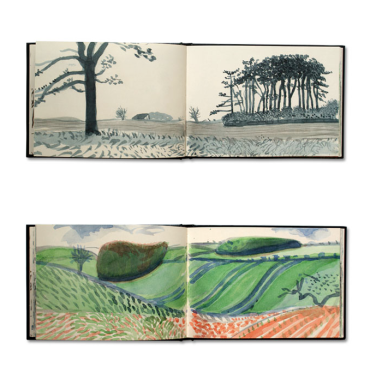 Selections from David Hockney's 'Yorkshire sketchbooks' in 'The Bigger Picture' at Royal Academy of Art, London. Image courtesy kathrinjacobsen.com