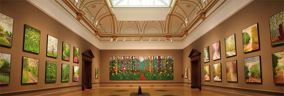 Installation view of David Hockney's iPad prints, 51 in all, in 'The Bigger Picture' at Royal Academy of Art, London. Image courtesy Royal Academy.