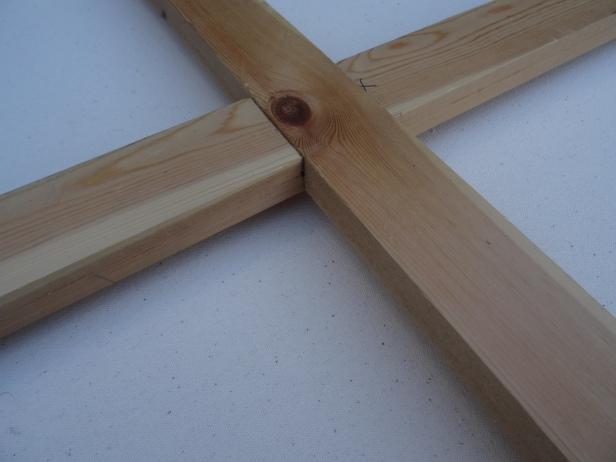 Making a canvas stretcher frame, cross-bar lap joint. Photo credit Kelise Franclemont.