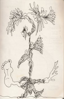 Kelise Franclemont, an automatic drawing, 2012, ink on paper. Looks like a plant with feet.