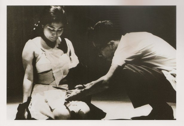Yoko Ono, 'Cut Piece', 1964, photo of performance during 'Contemporary American Avant-Garde Music Concert: Insound and Instructure', video, in 'Double Vision' in Haifa Museum of Art, Haifa, Israel. Image courtesy the artist and LENONO PHOTO ARCHIVE.