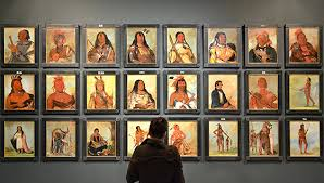 View of exhibition 'George Caitlin - American Indian Portraits', National Portrait Gallery. Image courtesy National Portrait Gallery.