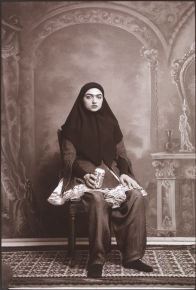 Shadi Ghadirian, From the series 'Qajar' 1998, Gelatin silver print, in 'Light from the Middle East' at Victoria and Albert Museum, London. Image courtesy www.vam.ac.uk