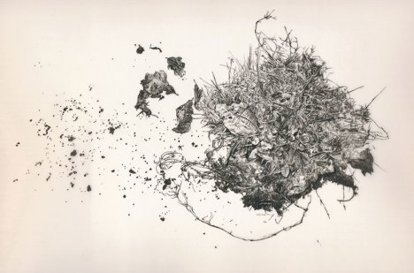 Miriam de Burca, 'Sod of Crom', 2011, ink on vellum, in 'Conflicted Memory' at Alan Cristea gallery. Image courtesy www.alancristea.com