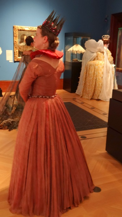 Showing extensive hand-pleating in the skirt. Gown made by Alexander Connatty. Image courtesy Thomas Butler.
