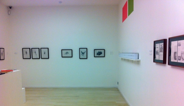 Installation view of 'Conflicted Memory' at Alan Cristea gallery, May 2013. (l-r) work by Miriam de Burca, Ninar Esber and xx. Image courtesy Kelise Franclemont and Alan Cristea gallery.