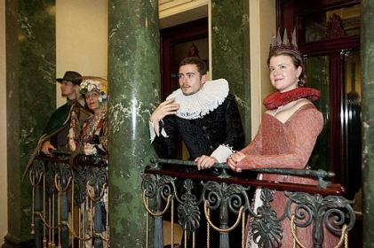 (l-r) Henry the 7th, An Eccentric Old Woman, Earl of Wessex, and Elisabeth de Valois at 'In Fine Style: The Art of Tudor and Stuart Fashion' at Queen's Gallery, Buckingham Palace.