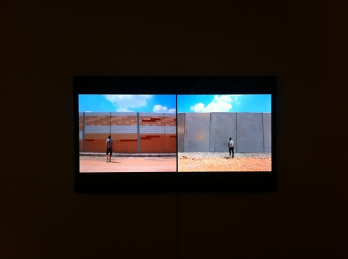 screenshot from 'Badminton', 2012, short film by Khaled Jarrar as seen in 'Whole in the Wall', at Ayyam Gallery, London. Image courtesy Kelise Franclemont and Ayyam Gallery