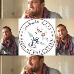 Khaled Jarrar and his Palestinian passport stamp he designed showing the Palestinian 'sunbird'. Image courtesy Google Site: artsandidentity