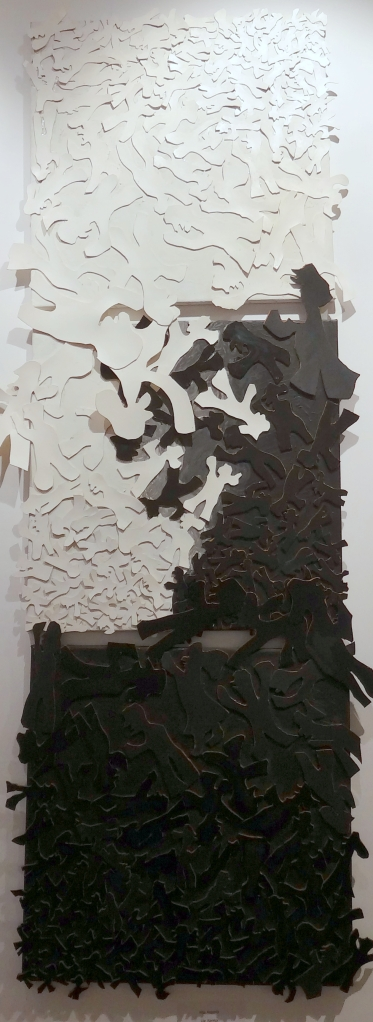 A collage of leather pieces as seen in 'Art for All - Communicate', at Megaro Gyzi Hall, Fira, Santorini, Greece. Photo courtesy Kelise Franclemont.