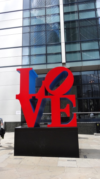 'LOVE', Robert Indiana, in 'Sculpture in the City 2013', City of London. Photo courtesy Kelise Franclemont.