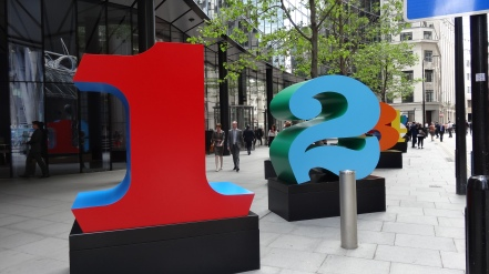 'One Through Zero', Robert Indiana, in 'Sculpture in the City 2013', City of London. Photo courtesy Kelise Franclemont.