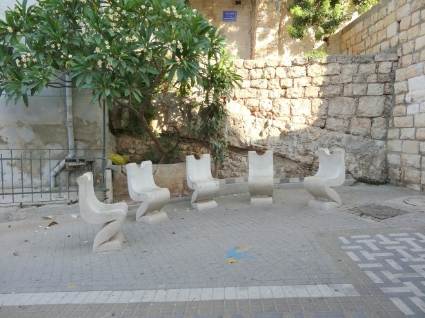 Installation by Salmon Molla, 1999, tucked away in a private courtyard in Wadi Nisnas, Haifa, Israel. Image courtesy Kelise Franclemont.