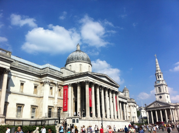 Entrance to the National Gallery, Trafalgar Square, London. Photo courtesy Kelise Franclemont.