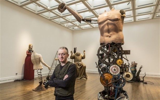 Artist Michael Landy preparing his exihibition 'Saints Alive' at National Gallery, London. Photo credit Andrew Crowley and The Telegraph, www.telegraph.co.uk