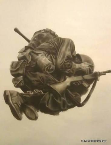 Justar Misdemeanor, 'Soldier', 2013, charcoal on paper, in 'Jerwood Drawing Prize 2013' at Jerwood Space, Bankside, London. Photo courtesy www.degreeshow.mmu.ac.uk and the artist.