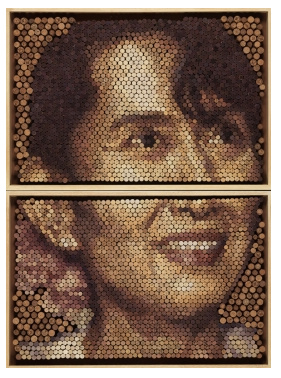 Conrad Engelhardt, 'Aung Sang Suu Kyi', 2013, natural stained cork on board. Image courtesy ThreadneedlePrize.com
