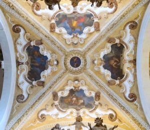Interior of SS Giovanni e Paolo cathedral - ceiling frescoes