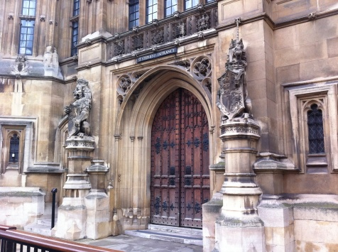 St Stephen's Entrance adjacent to the public/visitor's entrance to Houses of Parliament, guarded by a lion and a unicorn.
