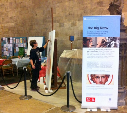 Artist-in-residence Rachel Gasden, working in the Big Draw area in Westminster Hall, from the public tour of the Houses of Parliament. Photo credit Kelise Franclemont.