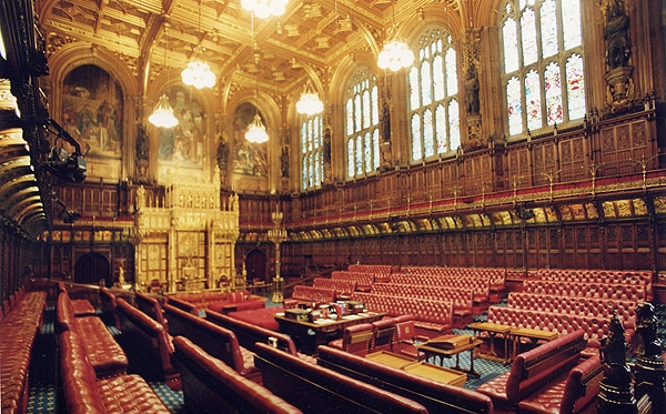 Lords Chamber in Houses of Parliament, London. Photo courtesy en.wikipedia.org
