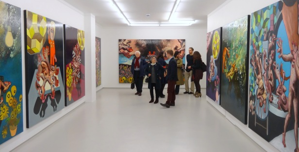 Paintings by Tom de Freston, 2013, installation view, at 'The Charnel House' exhibition at Breese Little, London. Photo credit Kelise Franclemont.
