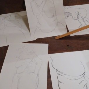 Some 5 minute poses, 2013, charcoal on newsprint, Draw at NW London, Mini Picassos, Kensal Rise, London. Photo credit Kelise Franclemont.