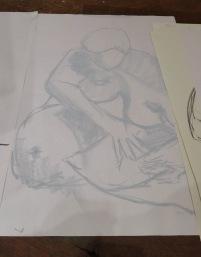 15 minute pose, 2013, chalk on sugar paper, Draw at NW London, Mini Picassos, Kensal Rise, London. Photo credit Kelise Franclemont.