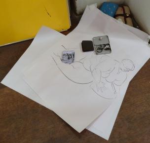 5 minute pose, 2013, charcoal on newsprint, Draw at NW London, Mini Picassos, Kensal Rise, London. Photo credit Kelise Franclemont.