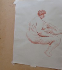 15 minute pose, 2013, conte on cartridge paper, Draw at NW London, Mini Picassos, Kensal Rise, London. Photo credit Kelise Franclemont.