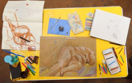 Drawing by Kelise Franclemont, 45 minute pose, 2013, conte and coloured Art Stix on sugar paper, Draw at NW London, Mini Picassos, Kensal Rise, London. Photo credit Kelise Franclemont.