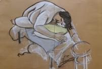 45 minute pose, 2013, chalk pastel on sugar paper, Draw at NW London, Mini Picassos, Kensal Rise, London. Photo credit Kelise Franclemont.