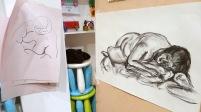 45 minute pose, 2013, charcoal on sugar paper, Draw at NW London, Mini Picassos, Kensal Rise, London. Photo credit Kelise Franclemont.