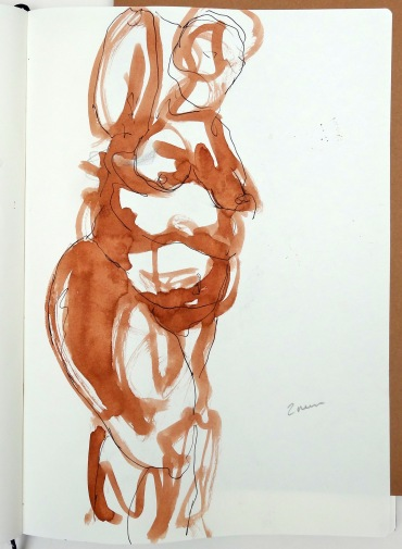 drawing by Kelise Franclemont, 2 minute pose, 2013, ink on paper in 'Draw at NW London', at Mini Picassos, London. Photo credit Kelise Franclemont.