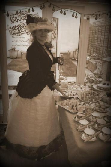 Kelise Franclemont at a Victorian tea party, 2012. Photo credit Tom Butler.