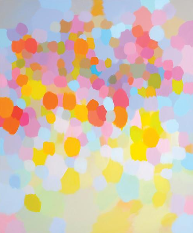 Samia Halaby, 'Pink Clouds', 2013, Acrylic on Linen Canvas, 183 x 152.5 cm. Image courtesy Ayyam Gallery