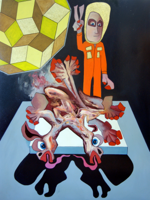Tom de Freston, 'Split', 2013, oil on canvas in 'The Charnel House' at Breese Little, London. Image courtesy the artist.