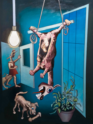 Tom de Freston, 'Hung', 2013, oil on canvas in 'The Charnel House' at Breese Little, London. Image courtesy the artist.