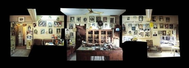 Akram Zaatari, 'Objects of Study / Studio Sheherazade - Reception Space', 2006, C-prints in three parts, in 'On Photography People and Modern Times' , at Thomas Dane gallery, London. Image courtesy the artist and Thomas Dane gallery.