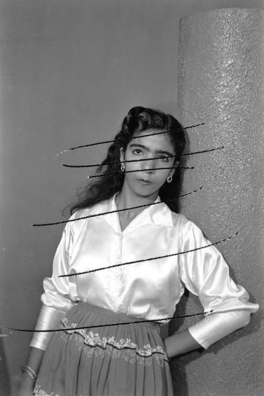 Akram Zaatari, 'Damaged negatives: scratched portrait of anonymous woman', 2012, inkjet print, in 'On Photography People and Modern Times' , at Thomas Dane gallery, London. Image courtesy the artist and Thomas Dane gallery.