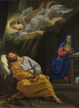 Philippe de Champaigne, 'The Dream of Saint Joseph', 1642-3, oil painting. Image courtesy National Gallery website.
