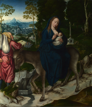Workshop of the Master of 1518, 'Flight to Egypt', one of two panels of an alterpiece. Image courtesy National Gallery