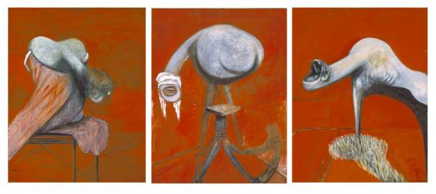 Francis Bacon, 'Three studies for figures at the base of a Crucifixion', 1944, in 'BP Walk through British art', at Tate Britain. Image courtesy Tate Britain.