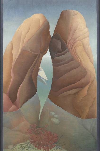 Ithell Colquhoun, 'Scylla', 1938, oil paint on board in 'BP Walk through British art', at Tate Britain. Image courtesy Tate Britain.